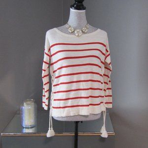 NWT LOFT Red & White Striped Top w/ Drawstrings XS